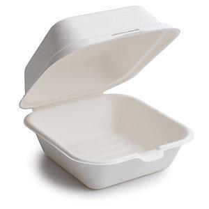 Caja para hamburguesa fabricada con fibra de caña de azúcar 25 unid