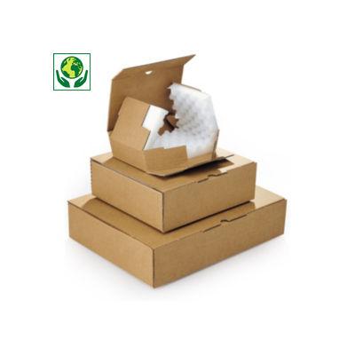 Caja postal marrón con relleno de espuma RAJA®