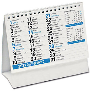 Calendario da tavolo a piramide con spirale 2021, 16 x 14,5 cm, Blu