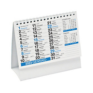 Calendario da tavolo a piramide con spirale 2022, 16 x 14,5 cm, Blu
