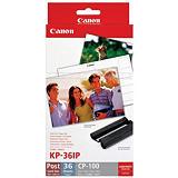 Canon KP-36IP, 7737A001, Cartucho de Tinta y Papel Fotográfico, Negro