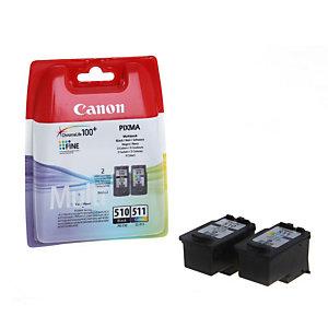 Canon PG-510 / CL-511, 2970B010, Cartucho de Tinta, ChromaLife100+, PIXMA, Negro, Tricolor