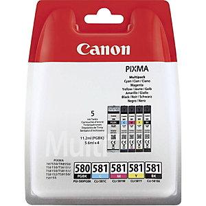 Canon PGI-580PGBK / CLI-581 CMYBK, 2078C006, Cartucho de Tinta, ChromaLife100+, PIXMA, Negro x 2, Cian, Magenta, Amarillo, Multipack