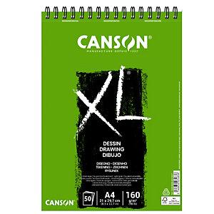 CANSON Album spiralato lato corto XL drawing - A4 - 160 gr - 50 fogli - Canson