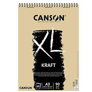 CANSON Album spiralato lato corto XL kraft - A3 - 90 gr - 60 fogli - Canson