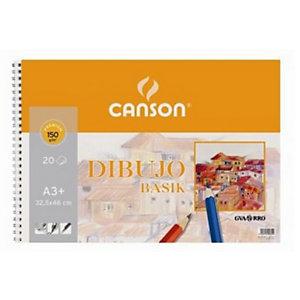 CANSON Basik Bloc de dibujo, A3+, 20 hojas, 150 g/m²
