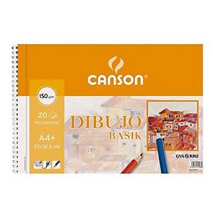 CANSON Basik Bloc de dibujo, A4+, 20 hojas, 150 gr/m²