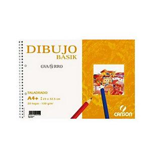 CANSON Basik Bloc de dibujo, A4+, 20 hojas, 2 taladros, 130 gr/m²