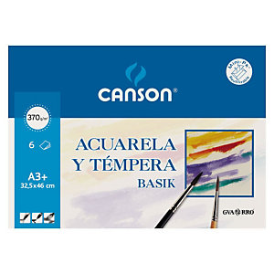CANSON Basik Láminas de papel A3+ para acuarela y témpera