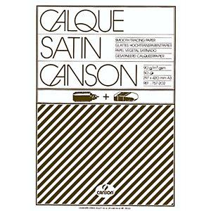 CANSON Blocco 50 fogli carta lucida satinata A3 (29,7 x 42 cm), 90/95 g/m²