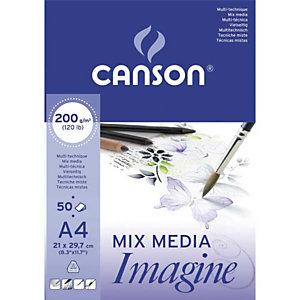 CANSON Feuilles de papier dessin multi-technique IMAGINE 200 g/m² A4 - Blanc