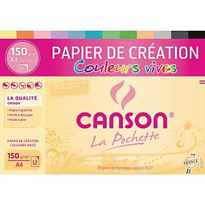 CANSON Papier à dessin CREATION 150 g/m² A4 - Pochette 12 feuilles Couleurs vives assorties
