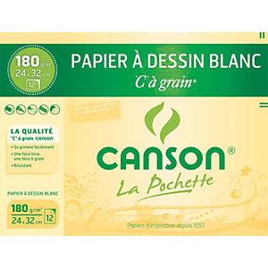 """CANSON Pochette """"C"""" de 12 feuilles de papier dessin à grain, 180 g/m² , 24 x 32 cm - Blanc"""
