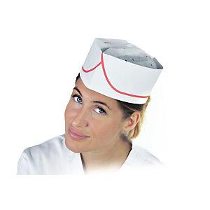 Cappello a bustina monouso in cellulosa, Bianco con riga rossa