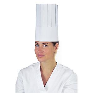 Cappello da cuoco monouso in carta, Taglia unica, Bianco (confezione 100 pezzi)