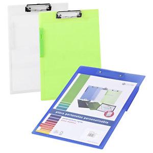 CARCHIVO Tabla de pinza portapapeles Folio con bolsa canguro en polipropileno rígido colores surtidos