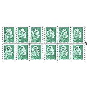 Carnet de 12 timbres autocollants lettre verte (Soumis à conditions)