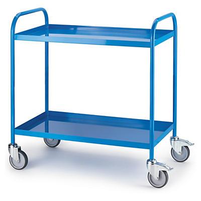 Carro plataforma de metal com bandejas