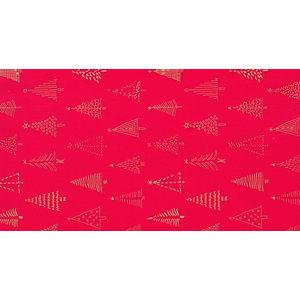 Carta da regalo in fogli, 70 x 100 cm, Fantasia Alberi di Natale su fondo rosso (confezione 5 fogli)