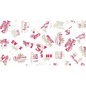 Carta da regalo in fogli, 70 x 100 cm, Fantasia Merry Christmas su fondo bianco (confezione 5 fogli)