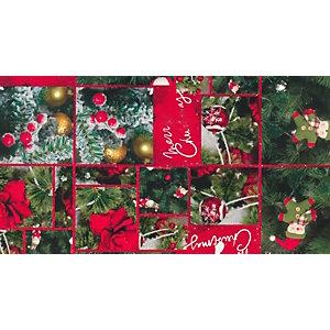 Carta da regalo in fogli, 70 x 100 cm, Fantasia Merry Christmas su fondo rosso (confezione 5 pezzi)
