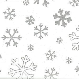 Carta da regalo in fogli, Fiocchi di neve glitter, 70 g/m², 70 x 100 cm (confezione 10 pezzi)