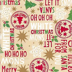 Carta da regalo in fogli, Merry Christmas, 70 g/m², 70 x 100 cm (confezione 25 pezzi)