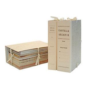 Cartella archivio con lacci, Cartone, Paglia di vienna, 350 mm x 250 mm x 100 mm (confezione 25 pezzi)