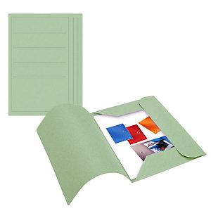 Cartellina a 3 lembi, 25,4 x 33,4 cm, Con stampa, Cartoncino manilla riciclato al 100%, Verde (confezione 50 pezzi)
