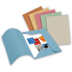 Cartellina a 3 lembi, 25,4 x 33,4 cm, Senza stampa, Cartoncino manilla riciclato al 100%, Azzurro (confezione 50 pezzi)