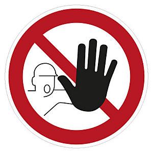 Cartello adesivo Accesso vietato ai non autorizzati, ø 10 cm