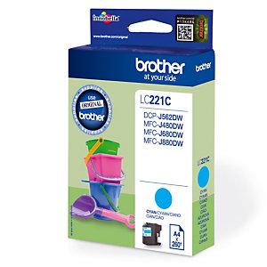 Cartouche Brother LC221C cyan pour imprimantes jet d'encre