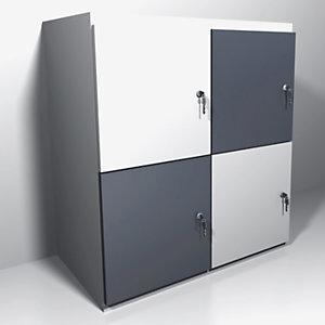 Casiers de bureau individuels 4 cases, Ht 91.1 cm, portes panachées blanc et anthracite