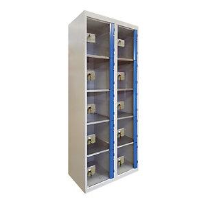 Casiers consigne à monnayeur , portes transparentes , 2 colonnes de 5 cases larg.300 mm, anthracite/ bleu