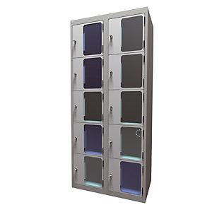 Casiers consigne à monnayeur , portes transparentes , 2 colonnes de 5 cases larg. 400 mm, anthracite/ gris clair
