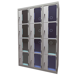 Casiers consigne à monnayeur, portes transparentes , 3 colonnes de 4 cases larg.400 mm, anthracite/ gris clair