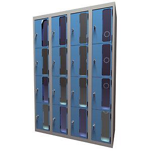 Casiers consigne à monnayeur , portes transparentes, 4 colonnes  de 4 cases larg.300 mm, anthracite/ bleu