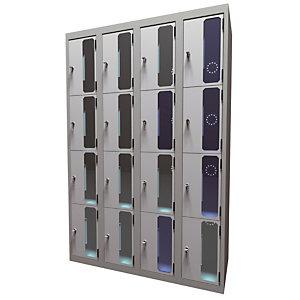 Casiers consigne à monnayeur , portes transparentes, 4 colonnes  de 4 cases larg.300 mm, anthracite/ gris clair