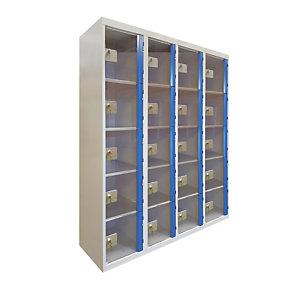 Casiers consigne à monnayeur , portes transparentes , 4 colonnes de 5 cases larg. 300 mm, anthracite/ bleu