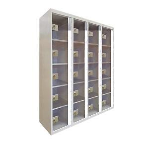 Casiers consigne à monnayeur,  portes transparentes , 4 colonnes de 5 cases larg. 300 mm, anthracite/ gris clair