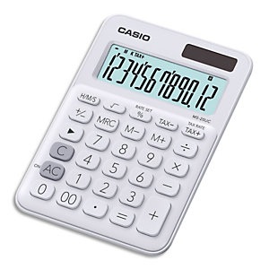 CASIO Calculatrice de bureau 12 chiffres Blanche MS-20UC-WE-S-EC