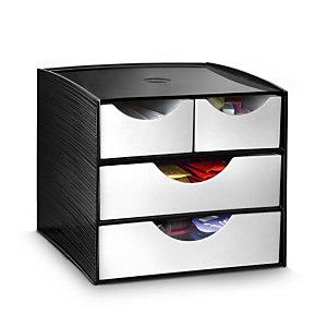 Cep Module de rangement Take a Break, 4 tiroirs pour cuisine et salle de pause - Noir/Gris métal