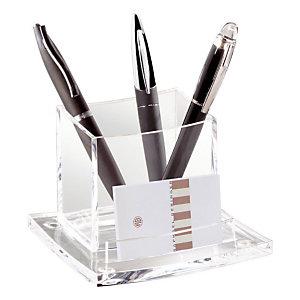 CEP Pot à crayons et téléphone portable AcryLight 440, ouverture frontale pour cartes de visite, 115 x 105 x 83 mm, acrylique, cristal