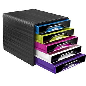 Cep Smoove, module de classement 5 tiroirs - Noir, façades panachées