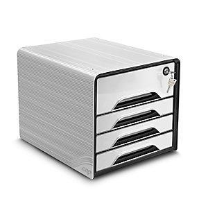 Cep Smoove Secure - Module de classement sécurisé 4 tiroirs - Blanc - Façades noires et blanches