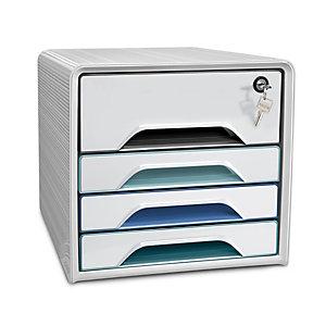 Cep Smoove Secure Riviera - Module de classement sécurisé 4 tiroirs - Blanc - Façades assorties