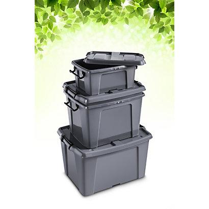 Cep Strata Smart Box Boite De Rangement Plastique Pp 100 Recycle Avec Couvercle Et Poignees 65l Gris Anthracite Boites Archivesfavorable A Acheter Dans Notre Magasin
