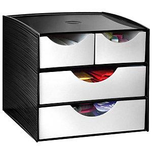 Cep Take A Break Estación de almacenamiento con 2 cajones grandes + 2 pequeños de 186 x 185 x 175 mm en poliestireno negro/gris metalizado