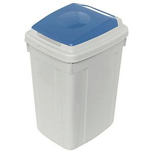 CERVIC Eco-Lid, Contenedor para recogida selectiva de papel, polipropileno, 42 l, gris y azul