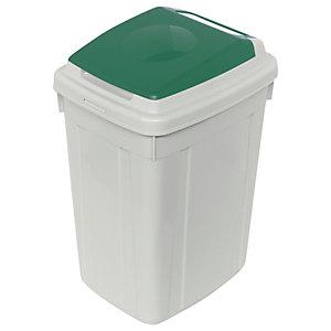 CERVIC Eco-Lid, Contenedor para recogida selectiva de vidrio, polipropileno, 42 l, gris y verde